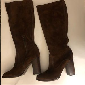 FRYE WOMENS SUEDE BROWN KNEE HIGH BOOTS SIZE 10
